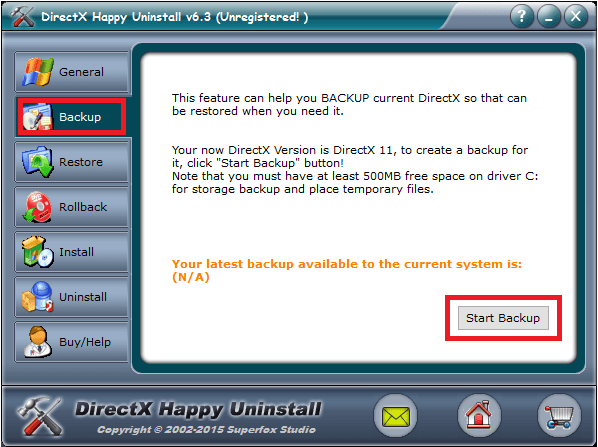 directX happy uninstall backup
