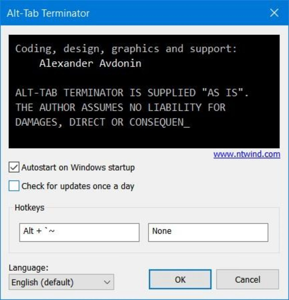 Set hotkeys in Alt-Tab Terminator