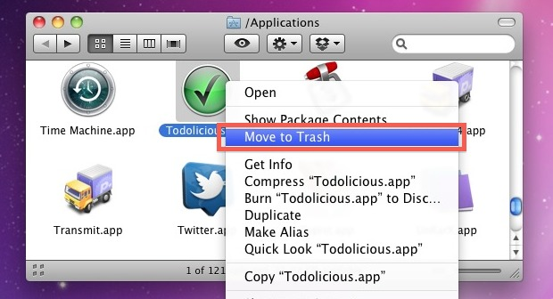 Uninstall a Mac Application by putting in Trash