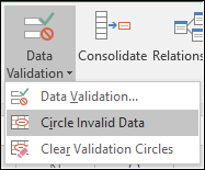 Circle Invalid Data on the ribbon