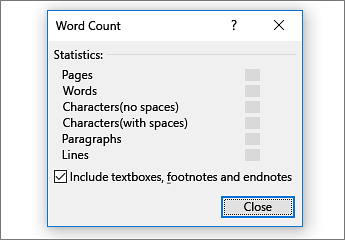 Word count detail