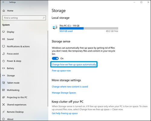 Storage sense settings with Change how we free up space automatically selected