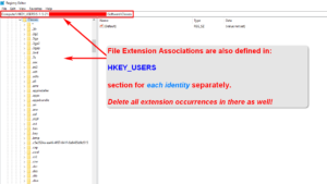 Microsoft Windows 10 - File Extension Associations In Registry - HKEY_USERS