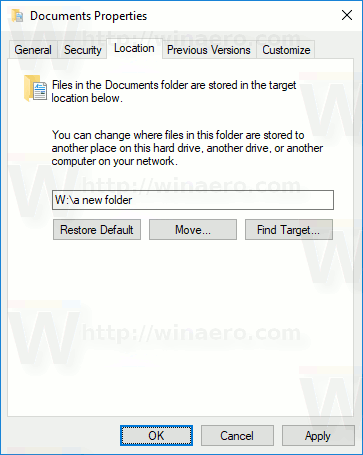Documents Folder Change Location