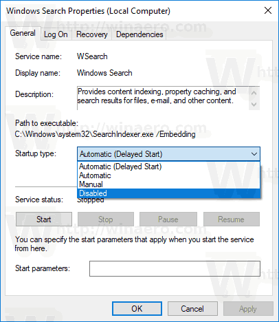 Disable Search Indexing Windows 10