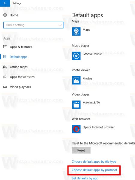 Windows 10 Choose Defaults Apps By Protocol