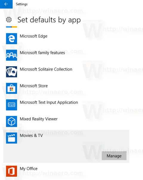 Windows 10 Set Defaults By App Page