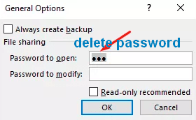 remove readonly password protection excel