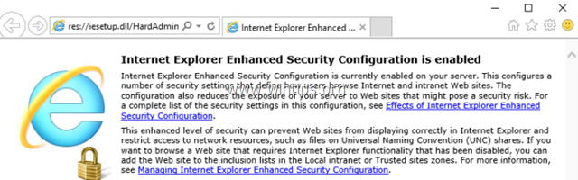 Disable Internet Explorer Enhanced Security Configuration in Server 2016